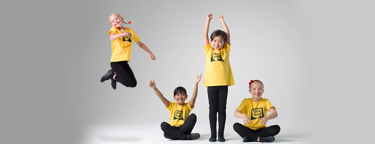 4 images of children enjoying Stagecoach Early Stage Classes for 4 to 6 year olds